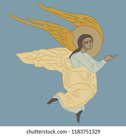Isolated vector illustration. Flying angel. Based on ancient Orthodox icon motif. Flat cartoon style. On blue background.