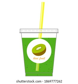 Isolated vector illustration of a fresh kiwi fruit juice on white background