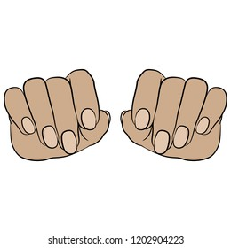 Isolated vector illustration. Front view of two Caucasian female hands with long nails. Hand drawn linear sketch. Cartoon style.
