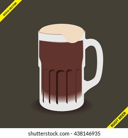 Isolated vector illustration of a glass or mug of root beer, background layer can be removed.