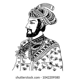 Isolated vector illustration. Hand drawn linear black and white sketch of a medieval Indian prince, rajah or sultan. Male portrait.