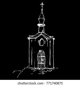 Isolated vector illustration. Hand drawn linear sketch of a Russian church. Anastasinskaya Chapel in Pskov.