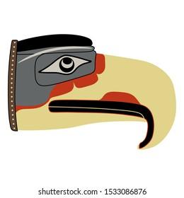 Isolated vector illustration. Head of stylized fantastic bird with big beak. Native American art of Kwakiutl Indians. Mythic Thunderbird.