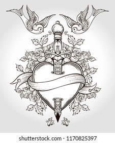 Isolated vector illustration of heart, knife, roses,birds and banner.Tattoo art, graphic, t-shirt design, postcard, poster design, coloring books,spirituality, occultism.Isolated vector illustration.