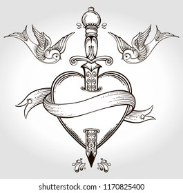 Isolated vector illustration of heart, knife, birds and banner.Tattoo art, graphic, t-shirt design, postcard, poster design, coloring books,spirituality, occultism.Isolated vector illustration.