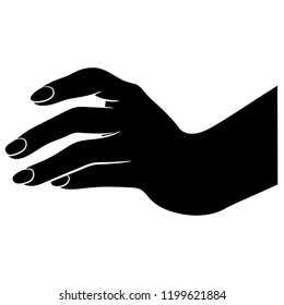 Isolated vector illustration. Human female hand. Hand drawn linear sketch. Black and white linear silhouette.