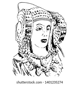 Isolated vector illustration. The Lady of Elche (Dama de Elche). Ancient Iberian female sculpture. Hand drawn sketch. Black silhouette on white background.
