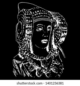 Isolated vector illustration. The Lady of Elche (Dama de Elche). Ancient Iberian female sculpture. Hand drawn sketch. White silhouette on black background.