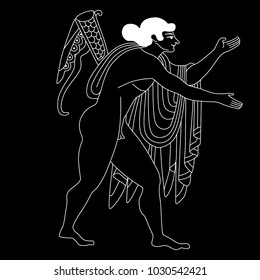 Isolated vector illustration. Linear black and white drawing of ancient Greek god Apollo. Based on classic vase painting image.