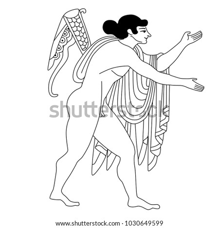 Linear Black And White Drawing Of Ancient Greek God Apollo Based