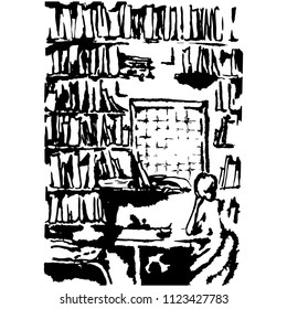 Isolated vector  illustration. Lonely girl sitting in a room full of books with a barred window. Concept of isolation and solitude. Based on hand drawn art. Black silhouette on white background.