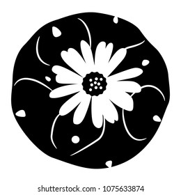Isolated vector illustration of Lophophora cactus. (Peyote). Top view. Black and white logo silhouette.