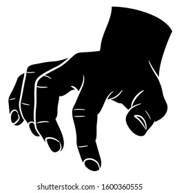 Isolated vector illustration. Male human hand with clenched fingers. Click or tapping gesture. Black and white silhouette.