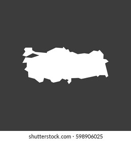 Isolated vector illustration of  a map of Turkey