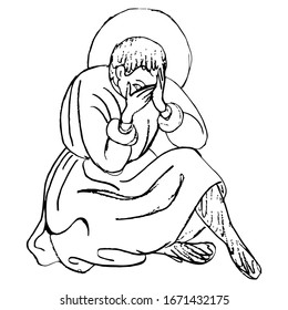 Isolated vector illustration. Medieval saint man sitting and crying. Male character hiding its face. Shame or despair. Hand drawn linear doodle ink sketch. Black silhouette on white background.
