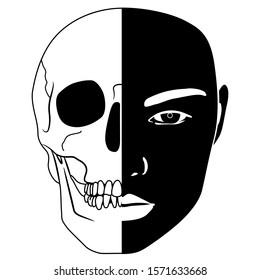 Isolated vector illustration. Memento mori emblem. Half face half human skull. Juxtaposition of death and life. Black and white silhouette.