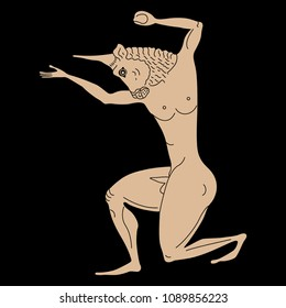 Isolated vector illustration of Minotaur. Ancient Greek mythology. Bull headed man. Based on antique vase painting motif.
