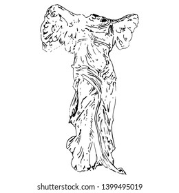 Isolated vector illustration. Nike of Samothace. Ancient Greek Hellenistic sculpture of winged goddess of victory. Hand drawn linear ink sketch. Black silhouette on white background.