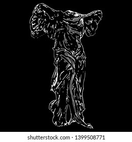 Isolated vector illustration. Nike of Samothace. Ancient Greek Hellenistic sculpture of winged goddess of victory. Hand drawn linear scratched sketch. White silhouette on black background.