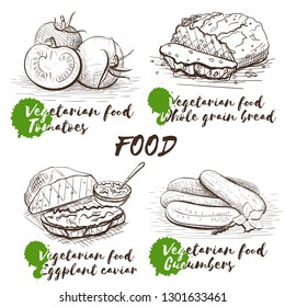 Isolated vector illustration. Organic healthy food. Vintage hand drawn template with vegan dishes for decorative design. Restaurant menu. Tomatoes, cucumbers, eggplant caviar and whole grain bread.