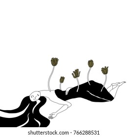 Isolated vector illustration. Original style hand drawn art. Lying girl with tulips sprouting through her body. Archetype of Greek goddess Persephone.