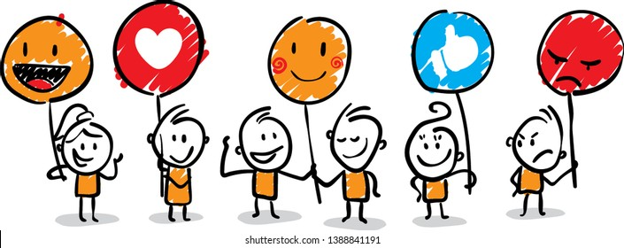 isolated vector illustration outline hand drawn doodle line art cartoon design character. Group of people with different emotions (fun,sad,mad,like,love)