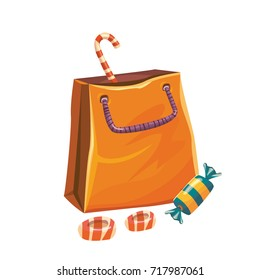 Isolated vector illustration of paper bag with candies and lollipop