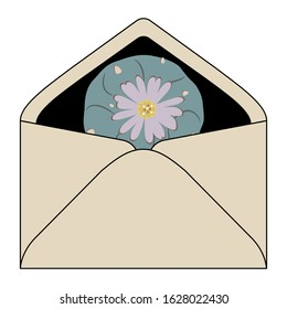 Isolated vector illustration. Paper envelope with lophophora cactus (peyote) inside.