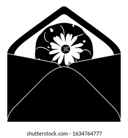Isolated vector illustration. Paper envelope with lophophora cactus (peyote) inside. Black and white silhouette.