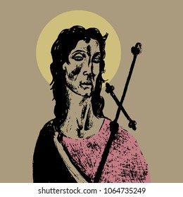 Isolated vector illustration. Portrait of St. John the Baptist. Christian saint. Hand drawn sketch based on art by Sandro Botticelli.