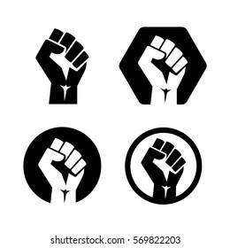 isolated vector illustration. Raised fist set black logo icon