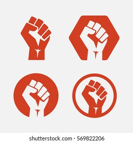 isolated vector illustration. Raised fist set red logo icon