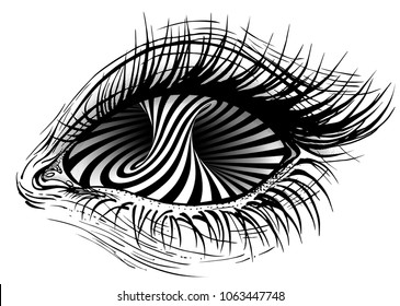 Isolated vector illustration of realistic human eye of a girl with turning torus hypnotic eye.