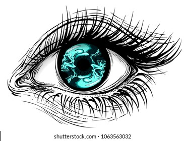 Isolated vector illustration of realistic human eye of a girl with circular blue skull pupil.
