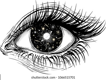 Isolated vector illustration of realistic human eye of a girl with universe of stars, comets, galaxies and deep black space iris.