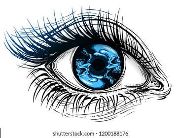Isolated vector illustration of realistic human eye of a girl with circular blue skull iris.