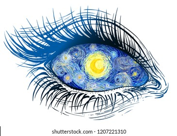 Isolated vector illustration of realistic human eye of a girl with glowing bright yellow moon iris, swirling clouds and starry sky pupil.