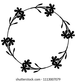 Isolated vector illustration. Round floral frame with stylized meadow flowers. Black silhouette on white background.