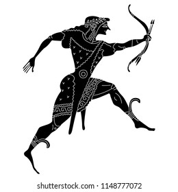 Isolated vector illustration. Running ancient Greek god Apollo with bow and arrows. Black and white linear silhouette.
