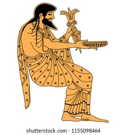 Isolated vector illustration. Seated ancient Greek god Zeus holding a thunderbolt and a bowl. Based on antique vase painting motif.