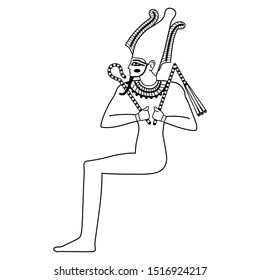 Isolated vector illustration. Seated ancient Egyptian god Osiris. Black and white linear silhouette.