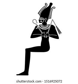 Isolated vector illustration. Seated ancient Egyptian god Osiris. Black and white silhouette.