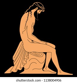 Isolated vector illustration of a seated bearded ancient Greek man. Based on antique vase painting.