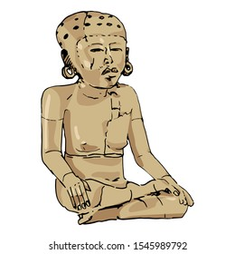 Isolated vector illustration. Seated lady with cranial deformation. Ancient Mexican Pre-Columbian sculpture from Veracruz. Hand drawn colorful sketch.