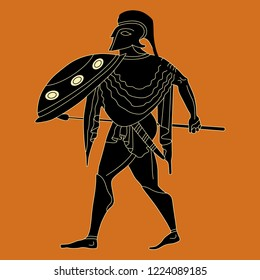 Isolated vector illustration. Silhouette of ancient Greek warrior. Vase painting motif. Cartoon style.