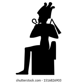 Isolated vector illustration. Silhouette of ancient Egyptian god Osiris sitting on throne.
