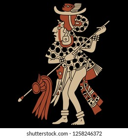 Isolated vector illustration. Silhouette of a Mayan priest. Ancient tribal motif. Cartoon style. On black background.