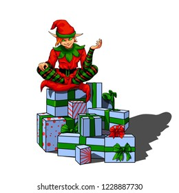 Isolated vector illustration of a sly elf santa helper sitting on a pile of gift boxes.