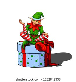 Isolated vector illustration of a sly elf santa helper sitting on a gift box.