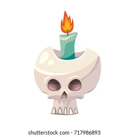 Isolated vector illustration of spooky Halloween human skull with flaming candle inside on white background